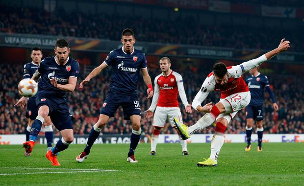 Arsenal's Olivier Giroud shoots at goal. Photo: REUTERS/David Klein