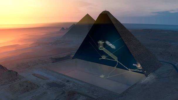 A cut-out aerial image of Khufu's Pyramid. Photo: ScanPyramids mission/PA