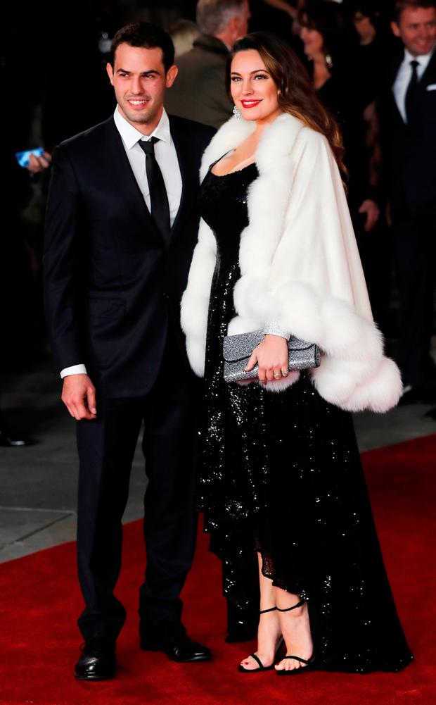 Kelly Brook arrives with Jeremy Parisi at the world premiere of Murder on the Orient Express at the Albert Hall in London, Britain, November 2, 2017. REUTERS/Eddie Keogh