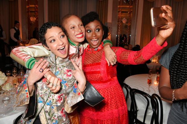 (L to R) Ruth Negga, Adwoa Aboah and Chimamanda Ngozi Adichie attend Harper's Bazaar Women of the Year Awards in association with Ralph & Russo, Audemars Piguet and Mercedes-Benz at Claridge's Hotel on November 2, 2017 in London, England. (Photo by David M. Benett/Dave Benett/Getty Images for Harper's Bazaar )
