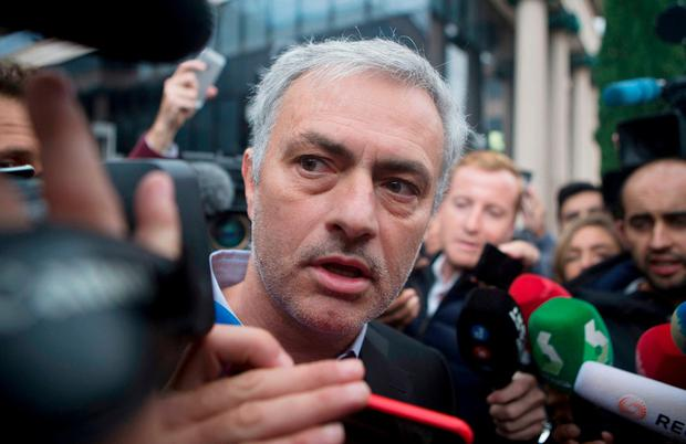 Manchester United manager Jose Mourinho leaves a courthouse in Madrid today