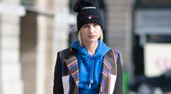 Hailey Baldwin seen in the streets of Paris on September 27, 2017 in Paris, France. (Photo by Timur Emek/Getty Images)