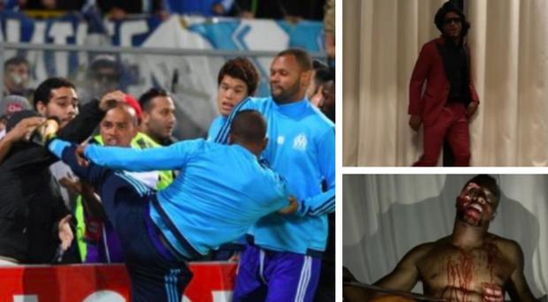 Patrice Evra was sent off for aiming a kick at a Marseille fan