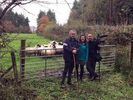 Donegal farmer Patsy McNulty with Rachel Schoutsen and Yan Theoret, both The Weather Network during filming near Lough Eske in Donegal.