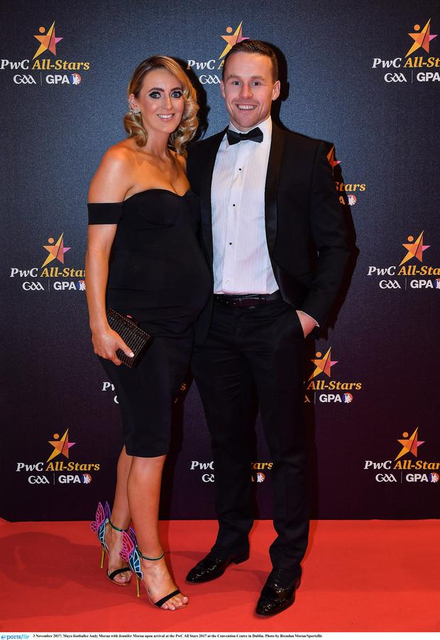 3 November 2017; Mayo footballer Andy Moran with Jennifer Moran upon arrival at the PwC All Stars 2017 at the Convention Centre in Dublin. Photo by Brendan Moran/Sportsfile