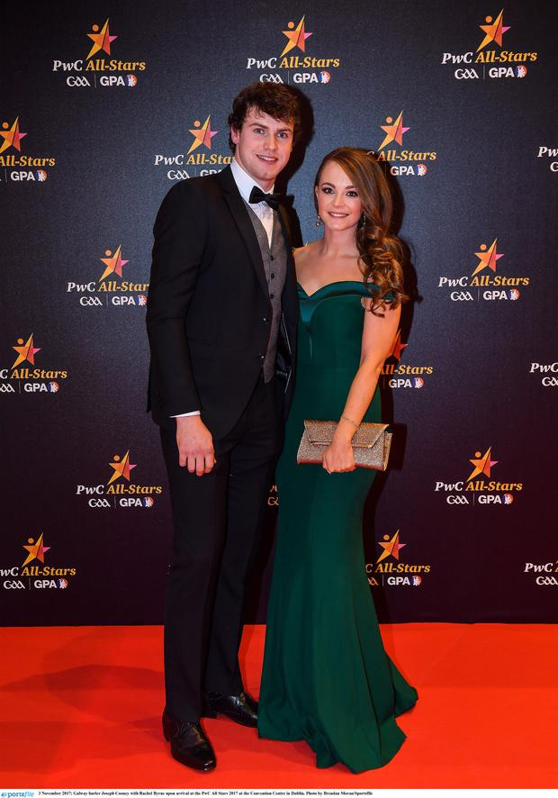 3 November 2017; Galway hurler Joseph Cooney with Rachel Byrne upon arrival at the PwC All Stars 2017 at the Convention Centre in Dublin. Photo by Brendan Moran/Sportsfile