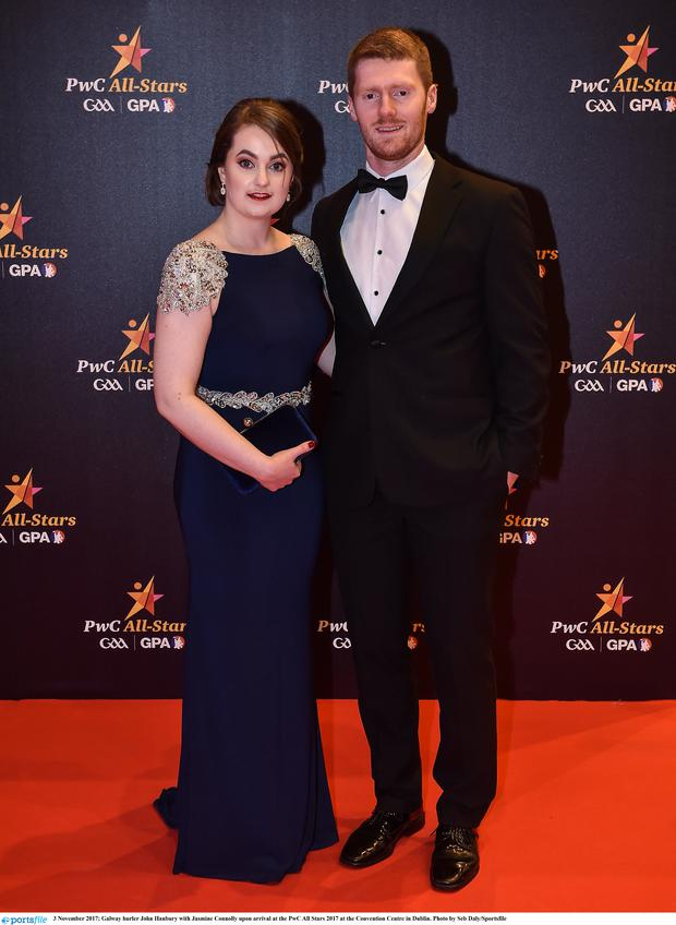 3 November 2017; Galway hurler John Hanbury with Jasmine Connolly upon arrival at the PwC All Stars 2017 at the Convention Centre in Dublin. Photo by Seb Daly/Sportsfile