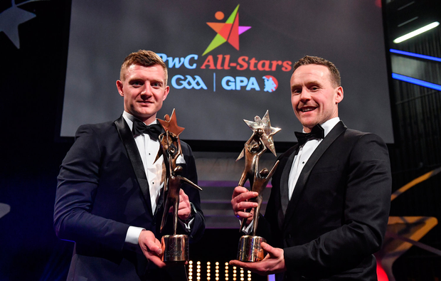 Hurler of the Year Joe Canning of Galway, left, and Footballer of the Year Andy Moran of Mayo during the PwC All Stars 2017 at the Convention Centre in Dublin. Photo by Brendan Moran/Sportsfile