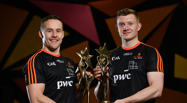 Mayo Footballer Andy Moran, left, and Galway Hurler Joe Canning, with their PwC GAA/GPA Footballer and Hurler of the Year Awards at the PwC All Stars 2017 at the Convention Centre in Dublin. Photo by Sam Barnes/Sportsfile