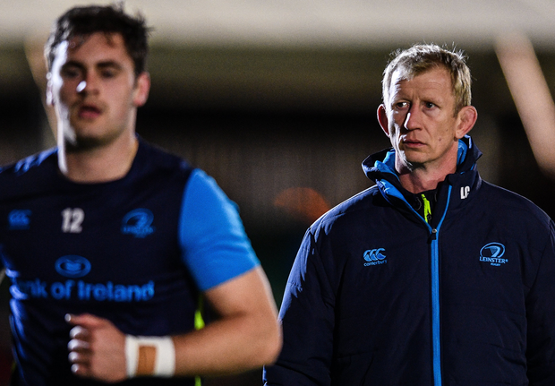 3 November 2017; Leinster head coach Leo Cullen and Conor O'Brien of Leinster ahead of the Guinness PRO14 Round 8 match between Glasgow Warriors and Leinster at Scotstoun in Glasgow, Scotland. Photo by Ramsey Cardy/Sportsfile