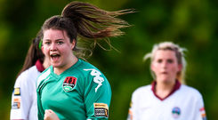 Clare Shine, pictured here after scoring for Cork City WFC against Galway WFC, will be hoping to be celebrating again tomorrow. Photo: Sportsfile