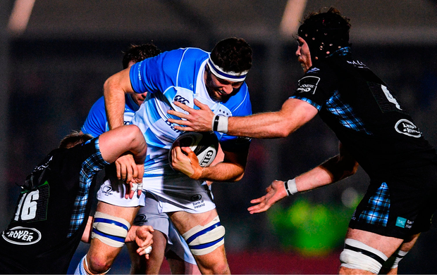 Josh Murphy of Leinster is tackled by Rob Harley, left, and Tim Swinson of Glasgow Warriors. Photo by Ramsey Cardy/Sportsfile