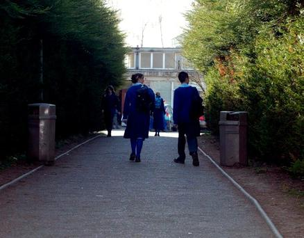 Students walking in the grounds of Malahide Community School. Photo: Donal Doherty
