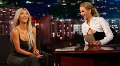 Kim Kardashian and Jennifer Lawrence on Jimmy Kimmel Live! Picture: Twitter