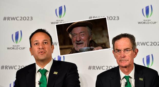 Ireland's Prime Minister Leo Varadkar (L) and Ireland 2023 Bid Chairman Dick Spring and (inset) Darby O'Gill