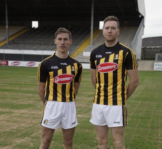 Cillian Buckley (left) and Walter Walsh (right) model Kilkenny's new jersey. Photo credit: O'Neills.