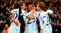 Dele Alli (centre) celebrates scoring for Tottenham against Real Madrid on Wednesday night Photo: Mike Egerton/PA Wire