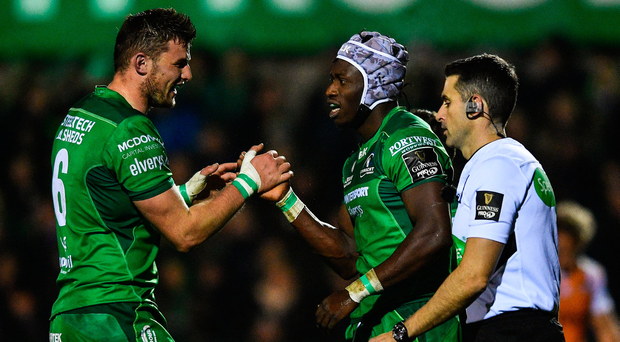 4 November 2017; Niyi Adeolokun of Connacht celebrates with team-mate Eoghan Masterson, left, after scoring his side's first try during the Guinness PRO14 Round 8 match between Connacht and Cheetahs at the Sportsground in Galway. Photo by Ramsey Cardy/Sportsfile