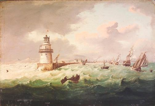 Ships at the entrance to Dublin Port in the early 19th Century, by William Sadler (courtesy of Adams Dublin)