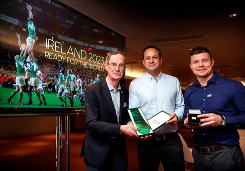HOPES DASHED: Bid Oversight Board chairman Dick Spring, Taoiseach Leo Varadkar and rugby legend Brian O'Driscoll make final preparations for the ultimately unsuccessful Rugby World Cup bid presentation to World Rugby in London