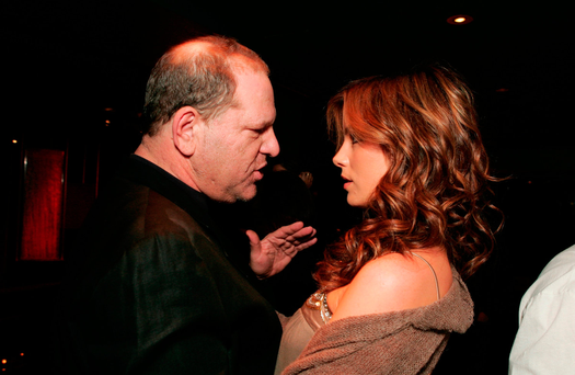 Accused: Harvey Weinstein and Kate Beckinsale at a party in Santa Monica, California, in 2004. Beckinsale has claimed Weinsten sexually harassed her when she was 17. Photo: BEI/REX/Shutterstock