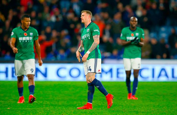 West Bromwich Albion's James McClean (centre) after the final whistle of the Premier League match at the John Smith's Stadium, Huddersfield. PRESS ASSOCIATION Photo. Picture date: Saturday November 4, 2017. Photo credit should read: Nigel French/PA Wire.