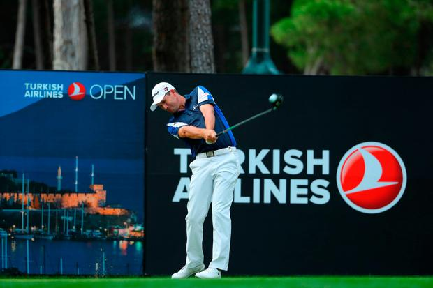 ANTALYA, TURKEY - NOVEMBER 04: Padraig Harrington of Ireland tees off on the 17th hole during the third round of the Turkish Airlines Open at the Regnum Carya Golf & Spa Resort on November 4, 2017 in Antalya, Turkey. (Photo by Richard Heathcote/Getty Images)