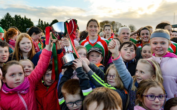 Cora Staunton of Carnacon with the cup and supporters after the Connacht Ladies Football Senior Club Championship Final Replay match between Carnacon and Kilkerrin-Clonberne at Ballyhaunis GAA club in Ballyhaunis, Mayo. Photo by Oliver McVeigh/Sportsfile