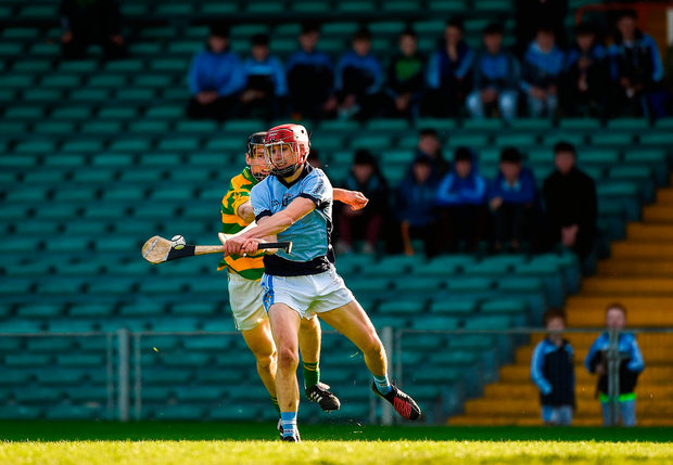 Adrian Breen of Na Piarsaigh in action against Gary Norberg of Blackrock. Photo by Daire Brennan/Sportsfile