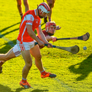 Con O'Callaghan blasts home Cuala's second goal despite the best efforts of Dicksboro's Cillian Buckley. Photo: Sportsfile