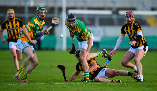 Ciaran Slevin of Kilcormac - Killoughey in action against Shane Clavin of Castletown Geoghegan. Photo: Sportsfile