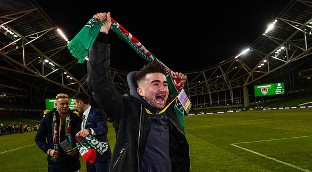 Former Cork City player Sean Maguire celebrates following the Irish Daily Mail FAI Senior Cup Final match between Cork City and Dundalk at the Aviva Stadium in Dublin. (Photo By Ramsey Cardy/Sportsfile via Getty Images)