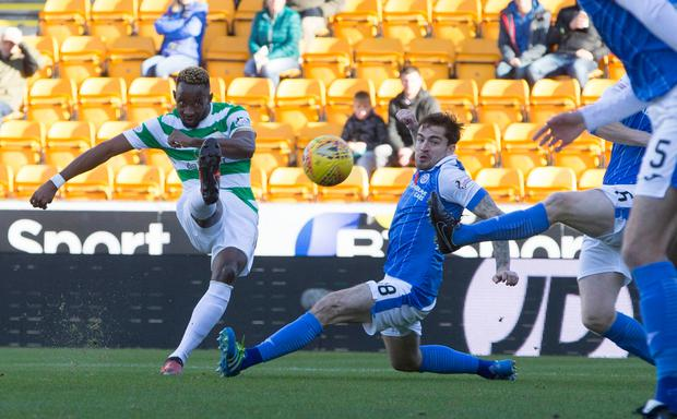 Celtic's Moussa Dembele has a shot on goal. Photo: PA Wire