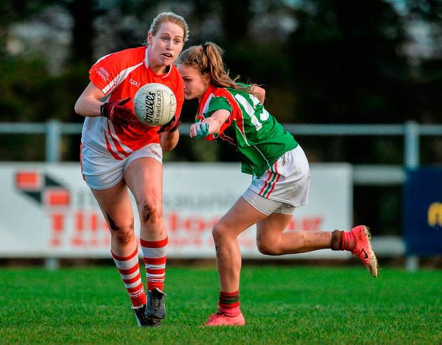 Sarah Gormally of Kilkerrin-Clonberne in action against Louise Dowling of Carnacon. Photo by Oliver McVeigh/Sportsfile