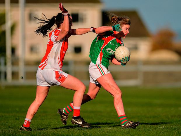 Fiona McHale of Carnacon in action against Lisa Gannon of Kilkerrin-Clonberne. Photo by Oliver McVeigh/Sportsfile