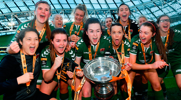 Captain Ciara McNamara leads way as Cork City WFC players celebrate after beating UCD Waves at Aviva Stadium. Photo: Sportsfile