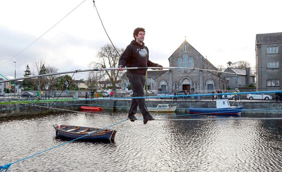 Galway Community Circus train at the Claddagh Basin for their Wires Crossed project for Galway 2020 European Capital of Culture. Photo: Andrew Downes