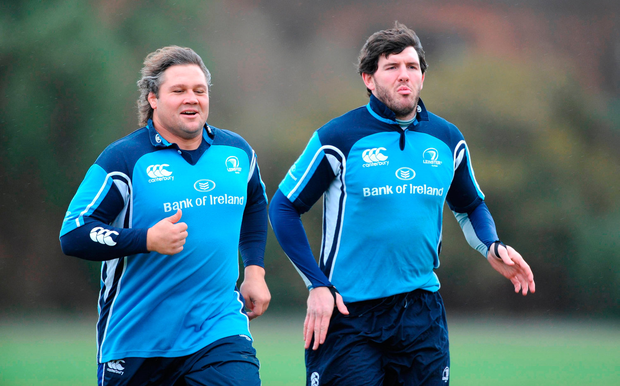 Leinster's Ollie Le Roux with Shane Horgan. Picture credit; Paul Mohan / SPORTSFILE