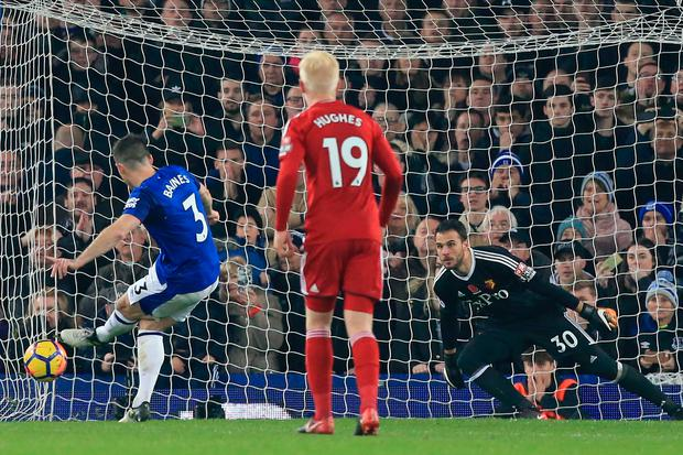 Baines scores their third goal from the penalty spot past substitute goalkeeper Orestis Karnezis. Photo: Getty Images