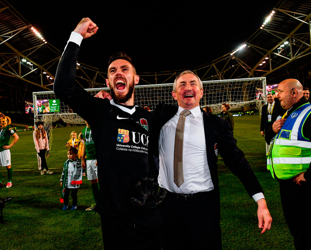 Cork City manager John Caulfield and goalkeeper Mark McNulty celebrate Cup glory last year