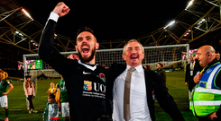 Cork City manager John Caulfield and goalkeeper Mark McNulty celebrate following their team's victory in the FAI Cup Final. Photo: Sportsfile