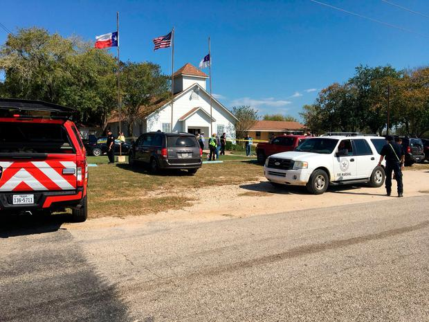 Emergency services gather at the church. Photo: MAX MASSEY/ KSAT 12/via REUTERS