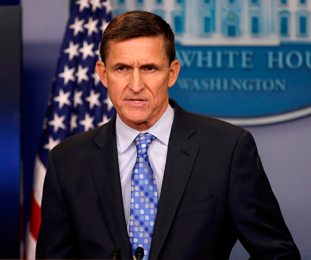 Michael Flynn speaks at the White House. Photo: Reuters