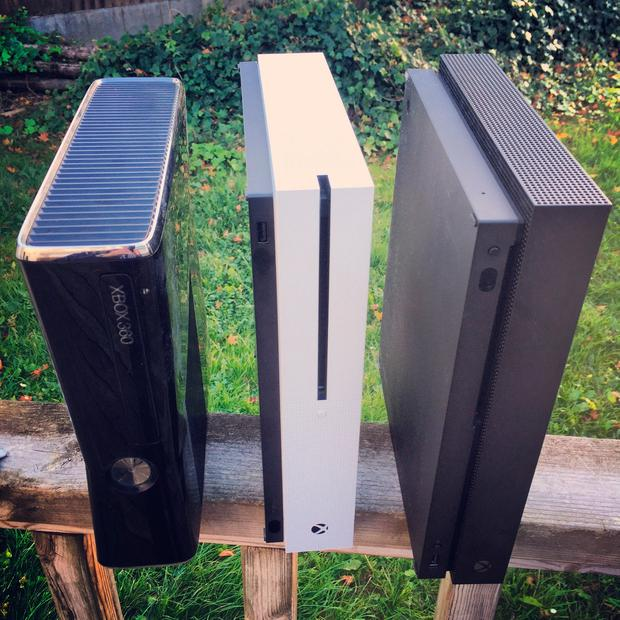 The evolution of the Xbox - (from left to right) Xbox 360, Xbox One S, Xbox One X