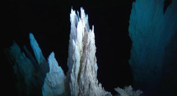The 'Lost City' hydropthermal vent in the Atlantic. Blue Planet II, BBC