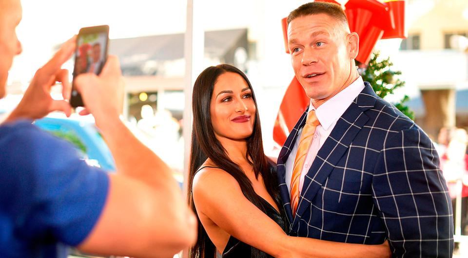 Nikki Bella and John Cena attend the premiere of Paramount Pictures'