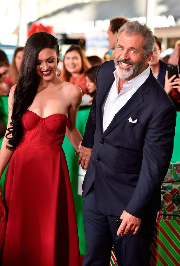 Rosalind Ross and actor Mel Gibson attend the premiere of Paramount Pictures'