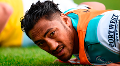 Allowing Bundee Aki to swap the green jersey of Connacht for Ireland makes sense for Saturday's South Africa Test. Photo by Seb Daly/Sportsfile