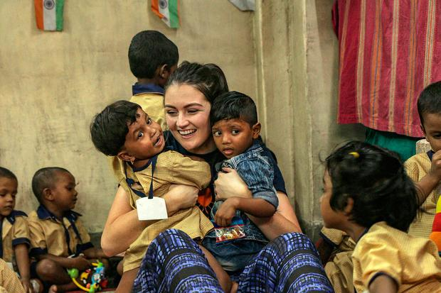 2017 Rose of Tralee Jennifer Byrne meets children at a Hope crèche in a slum in Kolkata