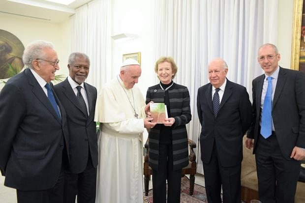 Pope Francis greets Mary Robinson in the Vatican